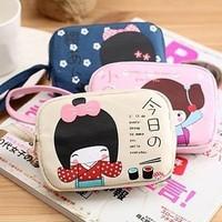 Japanese girl double zipper canvas coin purse coin case mobile phone bag 1124 (CQ)
