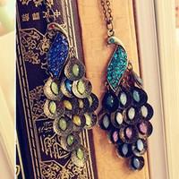 3pcs/lot 2014 hot accessories fashion accessories gem peacock vintage necklace A0116