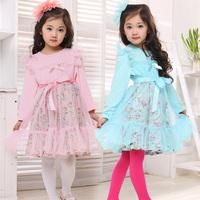Children's clothing spring clothes big boy ploughboys chiffon yarn long-sleeve lace puff sleeve princess dress