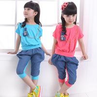 Children's clothing female child clothing child denim patchwork buck sports set short-sleeve capris set