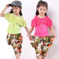 Children's clothing female child summer set fashion harem pants strapless short-sleeve shorts capris set