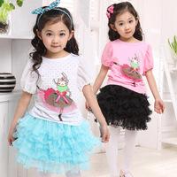 Children's clothing female summer child summer t-shirt cartoon dot all-match butterfly sleeve top performance wear short-sleeve