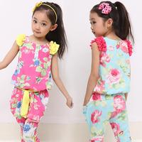 Children's clothing female child summer sleeveless set capris set