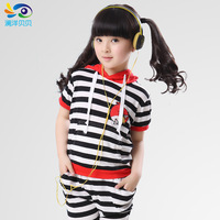2014   girl 's  children  sports set child summer short-sleeve pants twinset  free shipping
