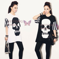Street style skull head printed t shirt tee plus size larger loose t-shirt blouse short sleeve free shipping