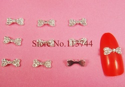 20pcs/lot x Clear Rhinestones Crystal Metal Alloy Bow Tie 3D Bowknot Acrylic Nail Art DIY Decoration Craft Phone-Free Shipping(China (Mainland))