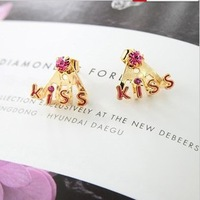 E34 New arrival elegant exquisite rhinestone all-match letter kiss cute stud earring  red white(min order $10 mixed items order)