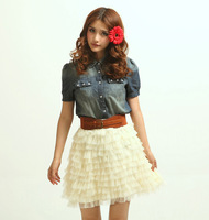Free Shipping Summer Stylish mermaid princess denim Jean Coat Gauze Skirts short-sleeve slim dress Suits(With Belt)130512#12