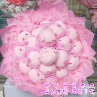 2013 New Gift Free shipping Little piggy doll bouquet cartoon bouquet doll bouquet birthday gift girls graduation gift