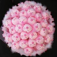 2013 New Gift Free shipping Cartoon bouquet little piggy doll bountyless birthday gift girls married holding flowers