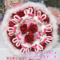 2013 New Gift Free shipping Cartoon bouquet rabbit doll bountyless birthday gift girls bride holding flowers