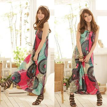 2014 Bohemian Dress Print Color Wheel Type Summer Maxi Dress For Women Beach Discount Cheap Clothes Beach Skirt
