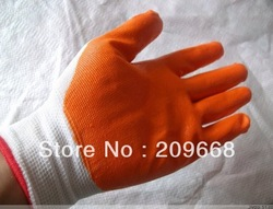 Free shipping 24 pairs/lot oil-resistant slip-resistant Nylon Nitrile coated Working Gloves glove safety gloves(China (Mainland))