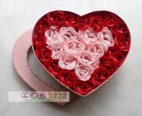 2013 New Gift Free shipping 26 rose soap flower soap flower bountyless gift heart gift box packaging birthday gift