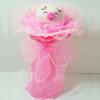 2013 New Gift Free shipping Shote single cartoon bouquet doll flower plush toys bouquet birthday graduation gift day gift
