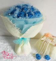 2013 New Gift Free shipping Jiayuan blue rose cartoon bouquet birthday gift female day gift cartoon bouquet