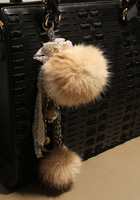 Dodojo rabbit fur pearl chain metal pendant keychain