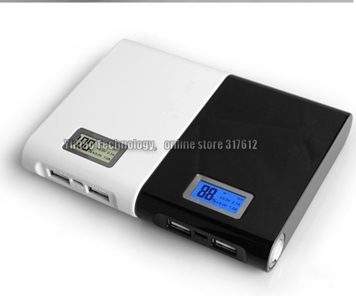 20pcs 2 usb port 12000Mah Portable Power Bank travel charger external battery for iphone, mobile with lcd screen led light(China (Mainland))
