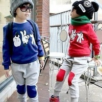 2013 female male child autumn child plus velvet thickening sports sweatshirt set child casual set