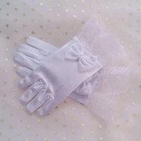 Female flower girl formal dress wedding gloves child formal dress accessories white short lace gloves