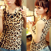 Free Shipping!!! Retail 2013 Summer Lady's Sexy Round Neck Sheath Leopard Grain Cotton Vest    F-0017