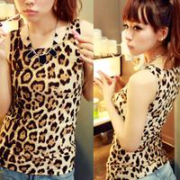 Free Shipping!Retail Cheap Dresses 2014 Summer Lady's Fashion Sexy Round Neck Sheath Leopard Grain Cotton Lady Vest