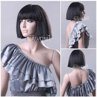 High Quality Fashion Black Women BOB Wigs With a Bangs Ladies wigs 100% KANEKALON W3770