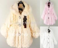 2013 baby girls warm coat hoody kids princess long sleeve winter fleece overcoat jacket with hat white pink yellow free shipping
