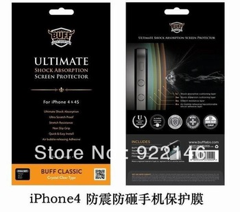 Buff Ultimate Shock Absorption Screen Protector For iPhone 4 4S,2 in 1 Full Set front & black film