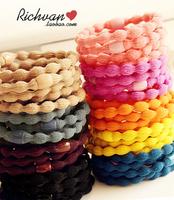 Free shipping Candy color multicolour nelumbonucifera basic headband rubber band apron hair rope ring  Wholesale