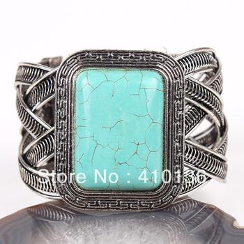 SBR507 Hot Sale Turquoise Bracelet Cube Bangle Vintage Silve Plated Turquoise Blue Stone Adjustable Bangle Free Shipping