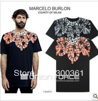 Marcelo Burlon men's t-shirt short sleeve unisex shirt round neck snake printing with brand tag label 100% cotton casual tee