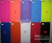 11 Color Hard Back Clear Case Mesh Net Soft Cover Skin Protector For phone 4 iphone 4S