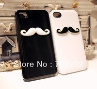 Up to 30%off,2pcs/lot New Hot LEON Chaplin Sexy 3D Beard Mustache Hard Back Case Cover For Apple iPhone 4 4S Couple & Lovers