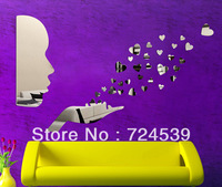 Free shippping!Sofa background  wall mirror stickers  wall covering love heart mirror wall stickers