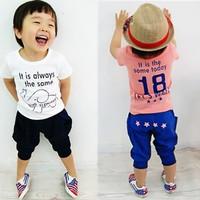 Retail children's clothing 2014 summer baby Boys Elephant suit casual  kids clothes t-shirts+ pant =set