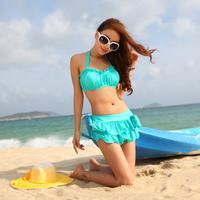2013 swimwear big small steel skirted bikini twinset swimwear female hot spring swimwear