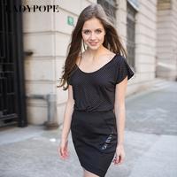 Ladypope2013 spring vintage polka dot park-neck t-shirt short-sleeve loose female vt010
