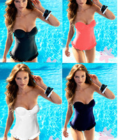 Free shipping 2013 Sexy underwire bra push up One Piece Monokini Swimwear Women,black/white/blue/watermon, XS-L Swimsuits
