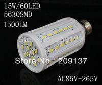 DHL free Shipping 15W 5630 SMD 60 LED Corn Bulb Light E27 LED Lamp 85V-265V 360 degree white/Warm White