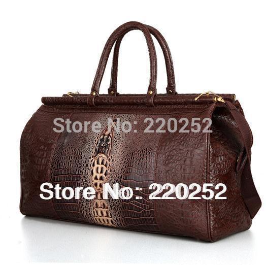 P002 nero tote coccodrillo borsa modello, borsa di coccodrillo, viaggio borsone borse, duffle, viaggio bagagli, donne borsa