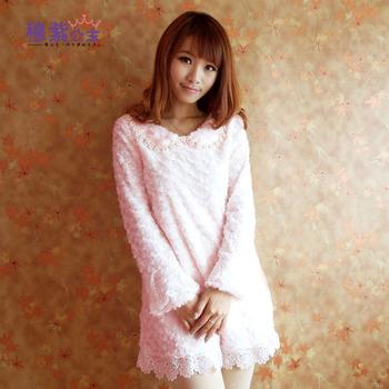 5006 peter pan collar autumn and winter Women sweet lace plush velvet long-sleeve basic one-piece dress