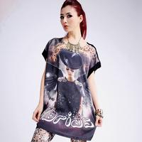 2013 summer round neck short-sleeve patchwork T-shirt female plus size basic shirt female fashion loose long design basic shirt