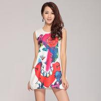 2013 fashion vintage white print slim sleeveless one-piece dress tank dress female