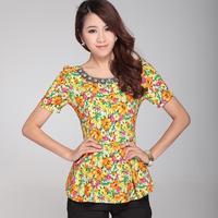 2012 summer women's short-sleeve preppy style fancy fashion all-match short-sleeve T-shirt basic top