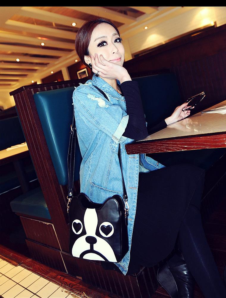2014 New Fashion Character Dog Handbag Cat Zipper All Matched Women Messenger Handbag in Stock(China (Mainland))