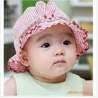 Free shipping new spring summer baby girls bucket hats infants kids cute striped rabbit sun hat caps cotton