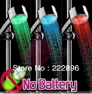 Chrome Temperature Control Color Changing LED Shower heads Lighting Hand Shower Free Shipping(China (Mainland))