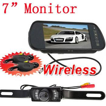 7 Inch TFT LCD Reverse Mirror Monitor IR Night Waterproof Car Wireless Reversing Parking Backup RearView Camera System