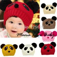 Cute Panda Pattern Baby Love Dual Ball Toddler Girls/Boys Wool Knitting Hat Sweater Cap Free shipping 8189